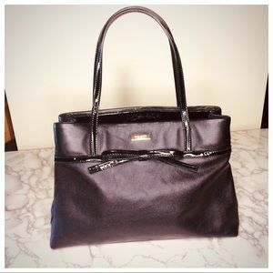 Kate Spade black pebble and patent leather tote